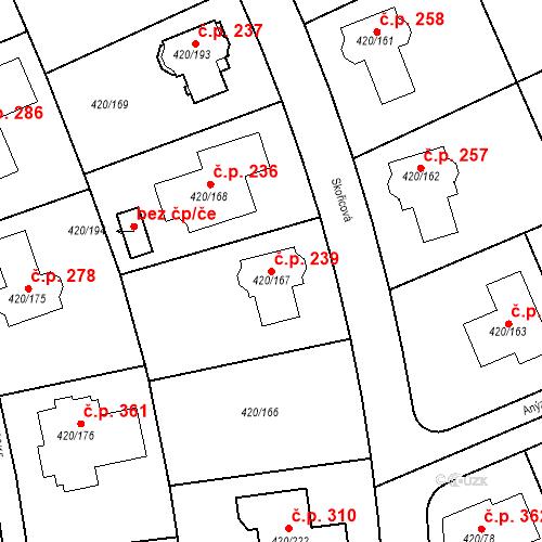 Katastrální mapa Stavební objekt Křeslice 239, Praha