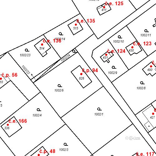 Katastrální mapa Stavební objekt Čakovice 94, Týnec nad Sázavou