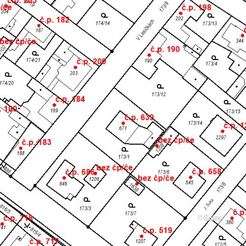 Katastrální mapa Stavební objekt Neratovice 639, Neratovice