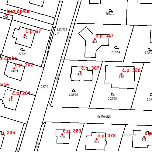 Katastrální mapa Stavební objekt Měšice 307, Měšice