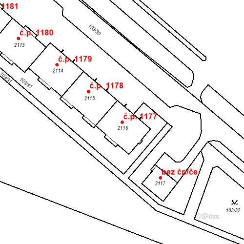 Katastrální mapa Stavební objekt Neratovice 1177, Neratovice