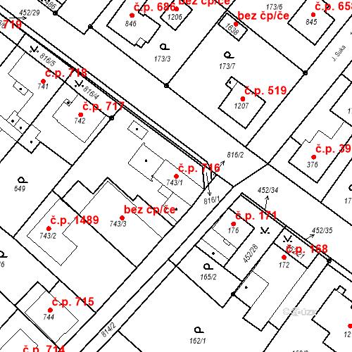 Katastrální mapa Stavební objekt Neratovice 716, Neratovice