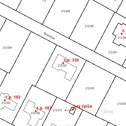 Katastrální mapa Stavební objekt Křeslice 330, Praha
