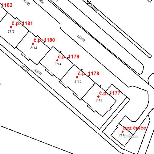 Katastrální mapa Stavební objekt Neratovice 1178, Neratovice