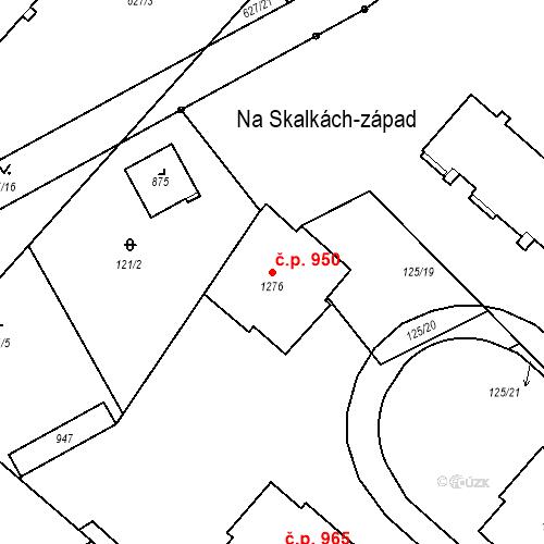 Katastrální mapa Stavební objekt Neratovice 950, Neratovice
