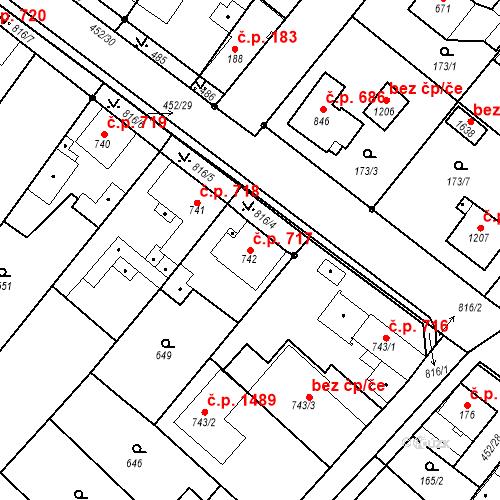 Katastrální mapa Stavební objekt Neratovice 717, Neratovice