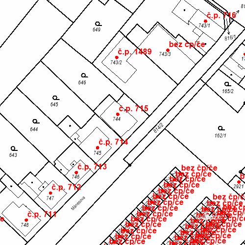 Katastrální mapa Stavební objekt Neratovice 715, Neratovice