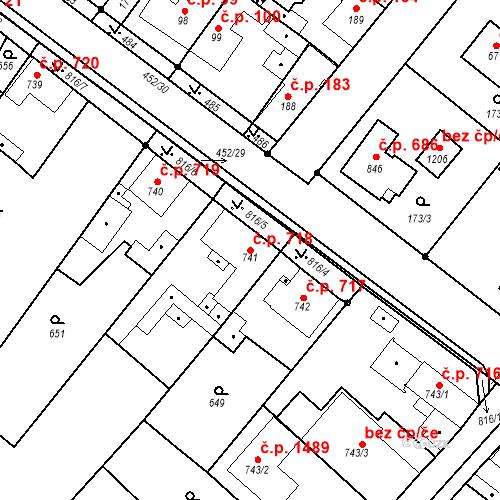 Katastrální mapa Stavební objekt Neratovice 718, Neratovice