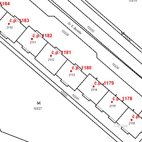 Katastrální mapa Stavební objekt Neratovice 1180, Neratovice