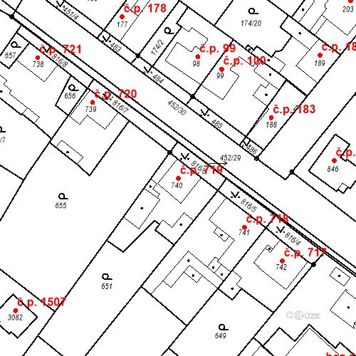 Katastrální mapa Stavební objekt Neratovice 719, Neratovice