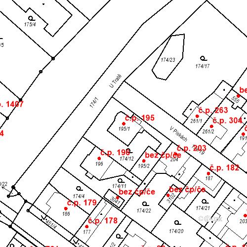 Katastrální mapa Stavební objekt Neratovice 195, Neratovice