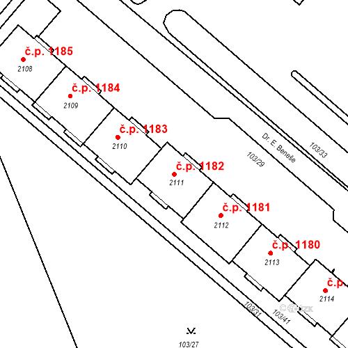 Katastrální mapa Stavební objekt Neratovice 1182, Neratovice