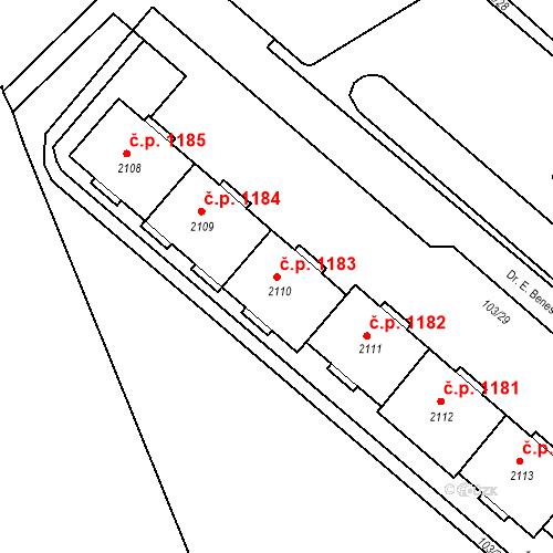 Katastrální mapa Stavební objekt Neratovice 1183, Neratovice