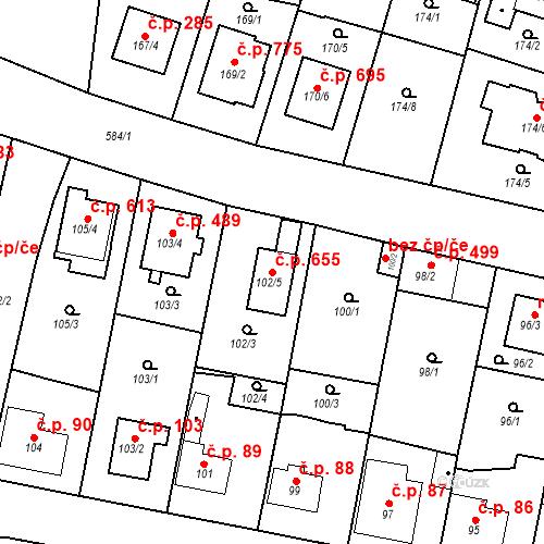 Katastrální mapa Stavební objekt Horní Měcholupy 655, Praha