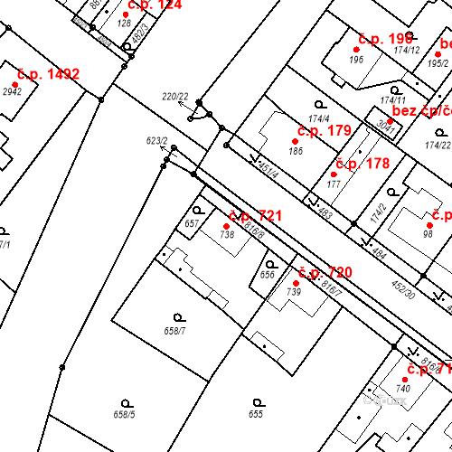 Katastrální mapa Stavební objekt Neratovice 721, Neratovice