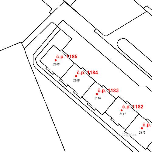 Katastrální mapa Stavební objekt Neratovice 1184, Neratovice