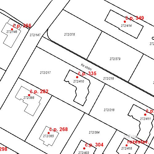 Katastrální mapa Stavební objekt Křeslice 335, Praha