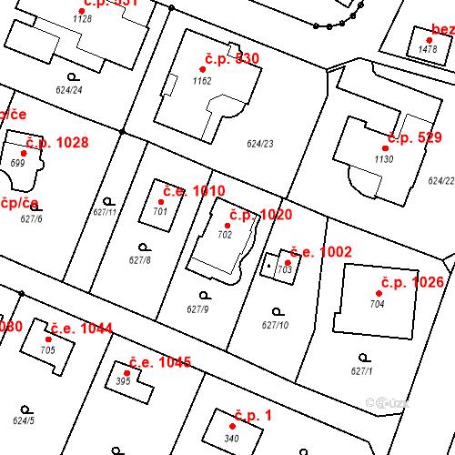 Katastrální mapa Stavební objekt Kamenice 1020, Kamenice