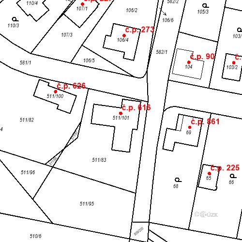Katastrální mapa Stavební objekt Horní Měcholupy 616, Praha