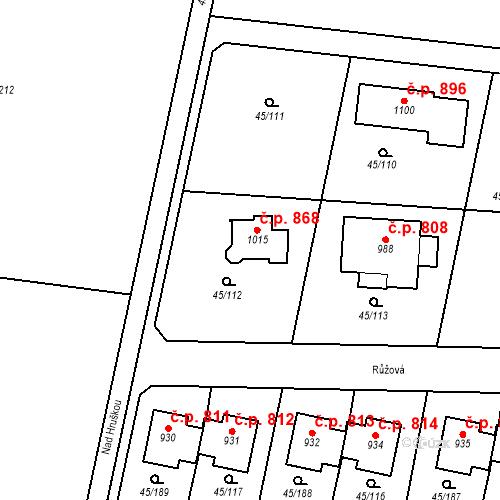 Katastrální mapa Stavební objekt Hovorčovice 868, Hovorčovice