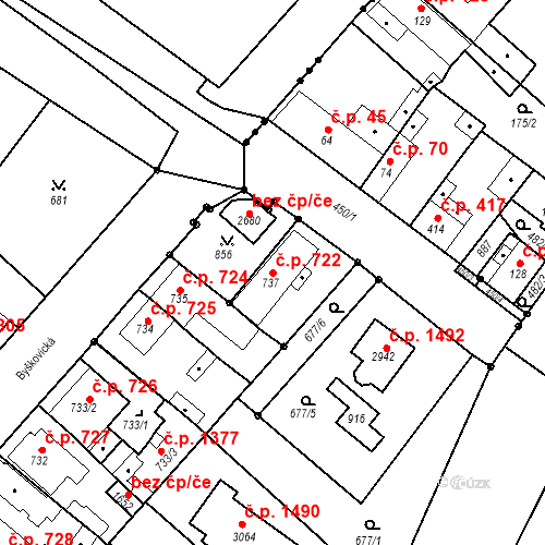 Katastrální mapa Stavební objekt Neratovice 722, Neratovice