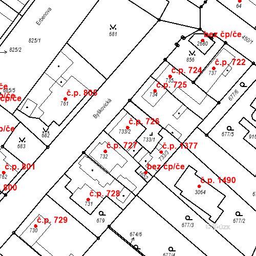 Katastrální mapa Stavební objekt Neratovice 726, Neratovice
