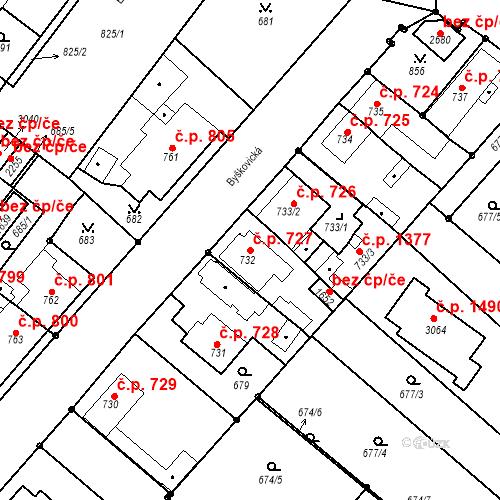 Katastrální mapa Stavební objekt Neratovice 727, Neratovice