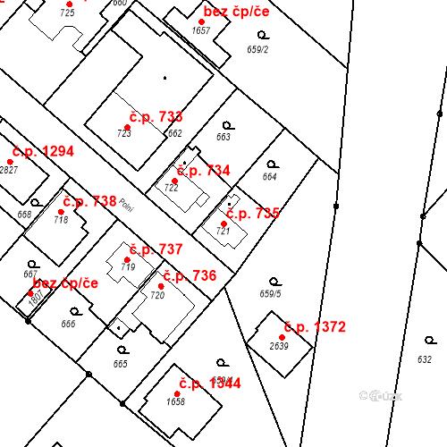 Katastrální mapa Stavební objekt Neratovice 735, Neratovice