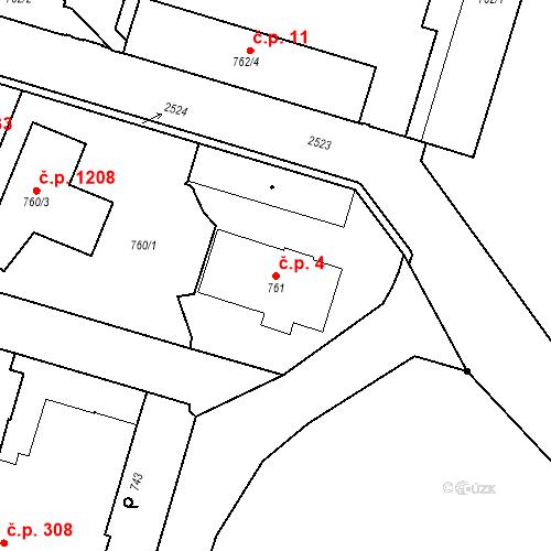 Katastrální mapa Stavební objekt Třeboň II 4, Třeboň