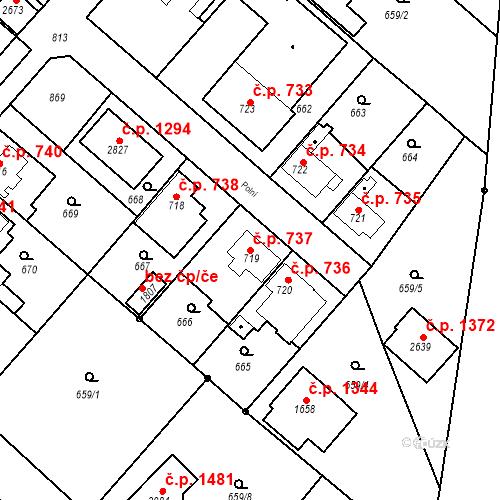 Katastrální mapa Stavební objekt Neratovice 737, Neratovice