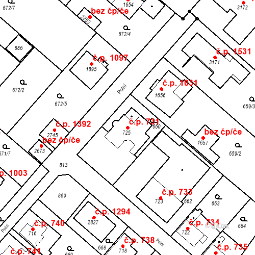 Katastrální mapa Stavební objekt Neratovice 731, Neratovice