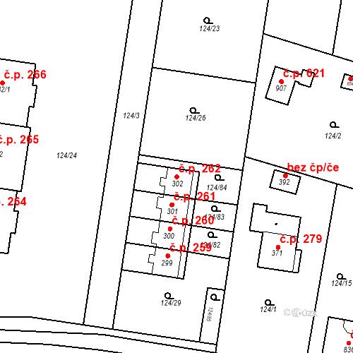 Katastrální mapa Stavební objekt Měšice 262, Měšice