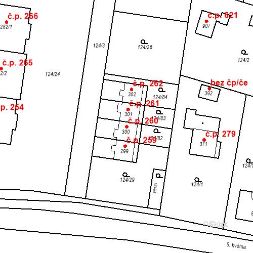 Katastrální mapa Stavební objekt Měšice 260, Měšice