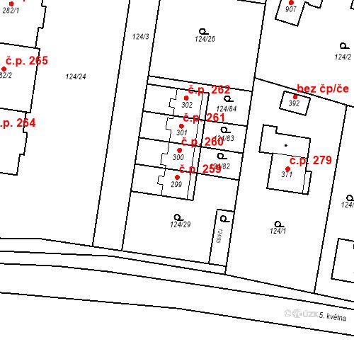 Katastrální mapa Stavební objekt Měšice 259, Měšice