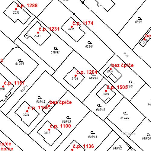 Katastrální mapa Stavební objekt Neratovice 1204, Neratovice