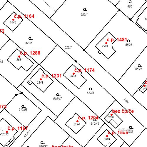 Katastrální mapa Stavební objekt Neratovice 1174, Neratovice