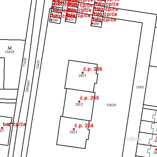 Katastrální mapa Stavební objekt Měšice 266, Měšice