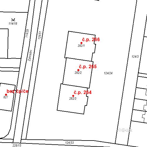 Katastrální mapa Stavební objekt Měšice 265, Měšice