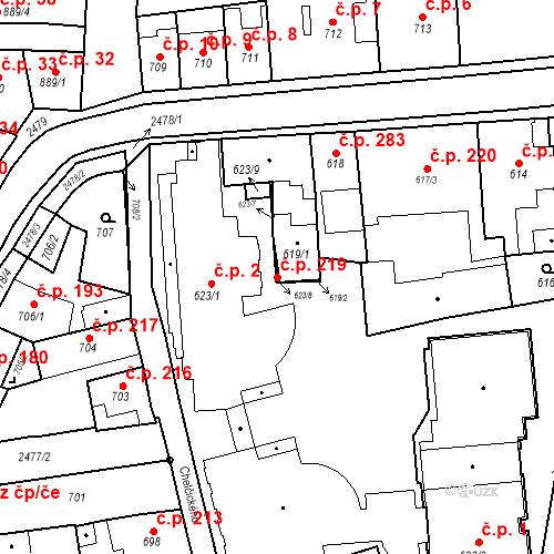 Katastrální mapa Stavební objekt Třeboň II 219, Třeboň