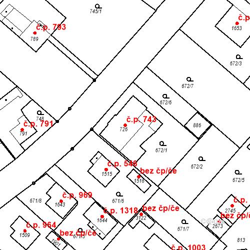Katastrální mapa Stavební objekt Neratovice 743, Neratovice