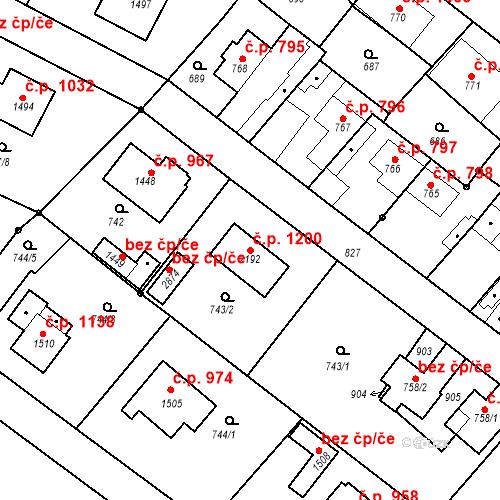 Katastrální mapa Stavební objekt Neratovice 1200, Neratovice