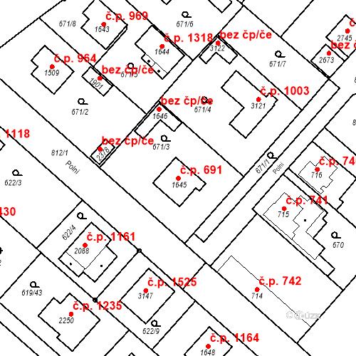 Katastrální mapa Stavební objekt Neratovice 691, Neratovice