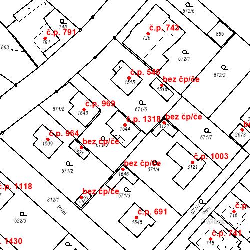 Katastrální mapa Stavební objekt Neratovice 1318, Neratovice
