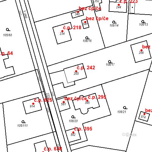 Katastrální mapa Stavební objekt Měšice 242, Měšice
