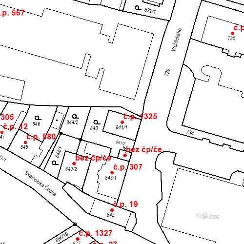 Katastrální mapa Stavební objekt Třeboň II 1325, Třeboň
