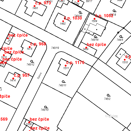 Katastrální mapa Stavební objekt Neratovice 1176, Neratovice