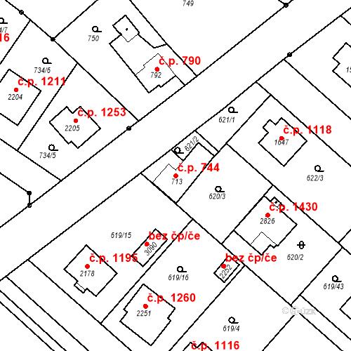 Katastrální mapa Stavební objekt Neratovice 744, Neratovice