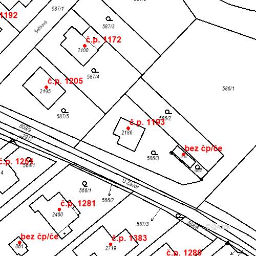 Katastrální mapa Stavební objekt Neratovice 1193, Neratovice