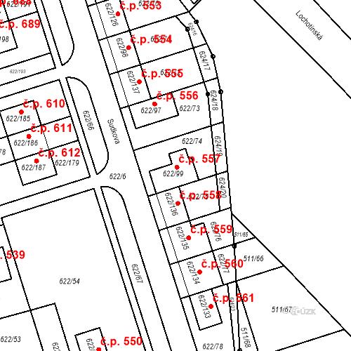 Katastrální mapa Stavební objekt Horní Měcholupy 557, Praha