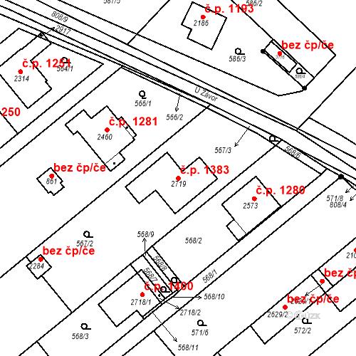 Katastrální mapa Stavební objekt Neratovice 1383, Neratovice